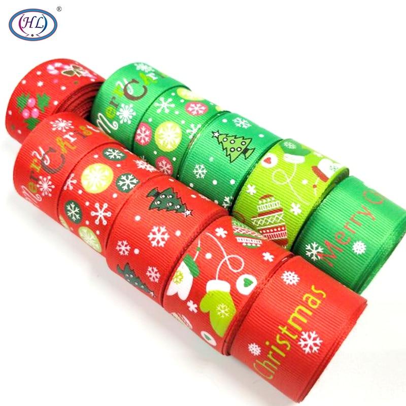 HL 5 yards 25mm width DIY Christmas Grosgrain Ribbons snow ribbon christmas tree accessories  jewelry cartoon