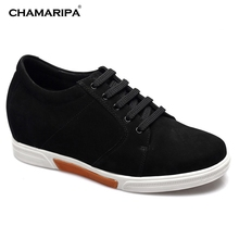 CHAMARIPA Increase Height 7.5cm/2.95 inch Elevator Shoe Mens Shoes First Layer Suede Leather Noard Style Casual Shoes