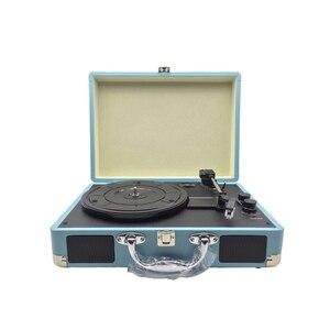 Image 2 - Reproductor de discos Retro USB DC 5V, 33RPM, gramófono antiguo, disco giratorio, Audio de vinilo, 3 velocidades, entrada Aux