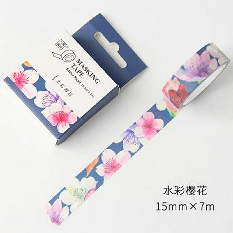1pcs Watercolor Cherry Blossoms Hand Account Decorative Water Color Washi Tape School Adhesive Tape 1.5CM*7M Stationery Stickers Клейкая лента