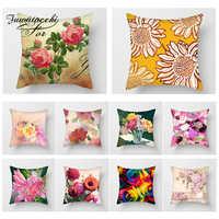 Fuwatacchi Flower Oil Painting Cushion Cover Plant Print Decorative Pillows Case Sofa Bed Car Pillowcase Throw Pillows Cover