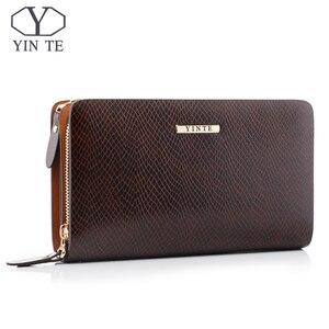 Мужской кошелек-клатч YINTE, модный кожаный деловой клатч на молнии, роскошная мужская сумочка, сумка-портфель на запястье, сумка-клатч, 2019