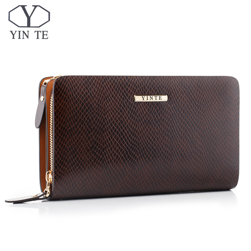 YINTE Fashion Men's Clutch Wallet Leather Men Purse Business Zipper Clutch Bag Luxury Men Hand Bag Wrist Bags Portfolio C8036-2 new oil wax leather men s wallet long retro business cowhide wallet zipper hand bag 2016 high quality purse clutch bag page 2