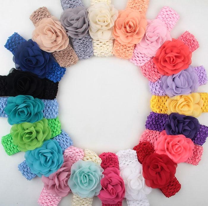 Yundfly Fashion Girls Crochet Rose Flower Headband Chic Hair Weave Band Kids Headwear Hair Accessories