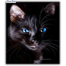 цена 5D Diy Diamond Painting Cross Stitch Blue Eyes Of The Black Cat Needlework Diamond Embroidery Full Round Mosaic Decoration Resin онлайн в 2017 году