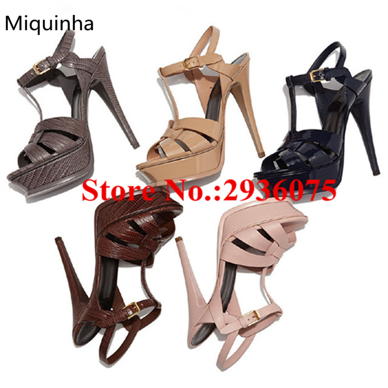 Summer Platform Sandals Shiny Matte Leather Peep Top T-Strap Cut-Outs High Heels Tribute Ladies Shoes Party Bridal Shoes Woman  summer women sandals open toe matte shiny leather t strap buckle high heels platform sandalias mujer fashion shoes woman