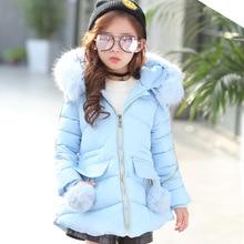 Kids Parkas Hooded Coat Children's Winter Jackets Warm Down Cotton for Girl Clothes Children Outerwear Thick Overcoat Enfant все цены