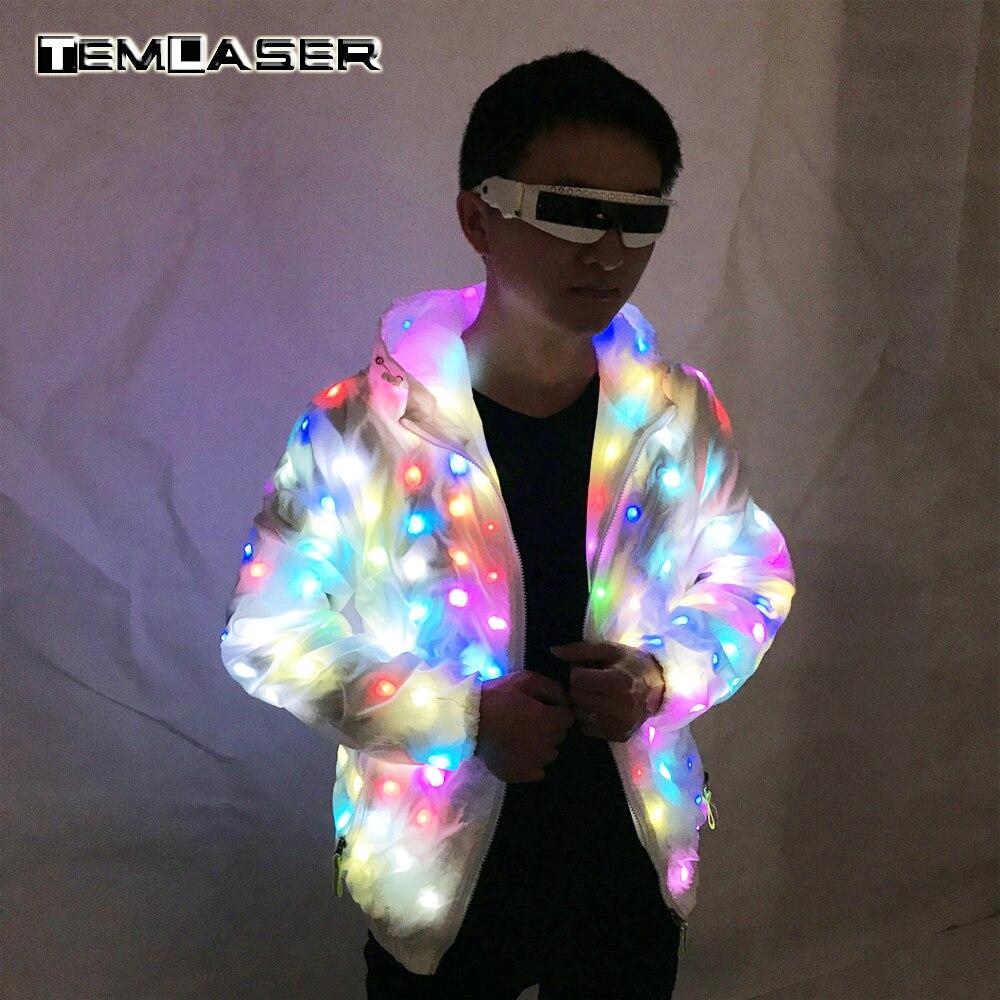 LED luminoso traje pareja, unisex luminoso LED, Navidad, fiesta de Halloween, traje cospaly para festival de música electrónica