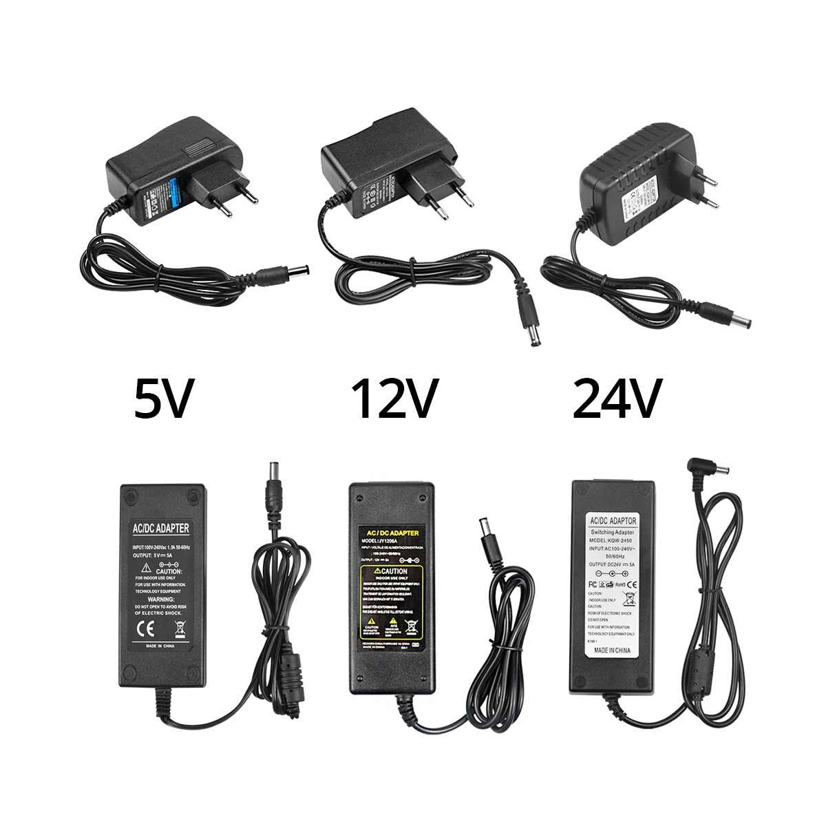 100-240V AC to DC Power Adapter Universal Switching DC 5V 9V 12V 1A 2A 3A Charger Supply Adaptor 5.5mm x 2.1mm for LED Strip