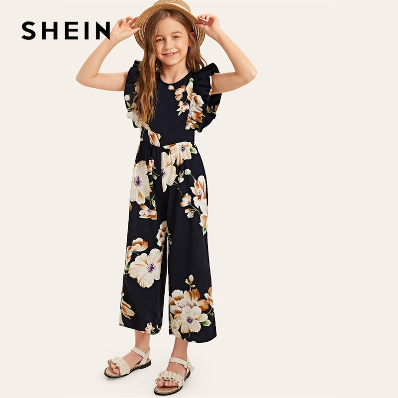 SHEIN Kiddie Navy Floral Print Wide Leg Holiday Girls Jumpsuit 2019 Summer Cap Sleeve Ruffle Boho Beach Teenager Long Jumpsuits simple style women s long sleeve round neck letter print sweatshirt