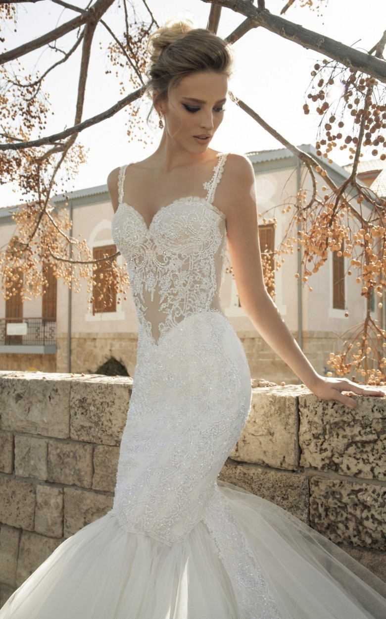 Backless Pearls Mermaid Wedding Dresses Vine Lace