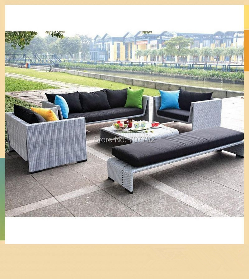 All Weather Wicker Modern Salon Sofa Furniture Luxe Sofa In Garden Sofas From Furniture On