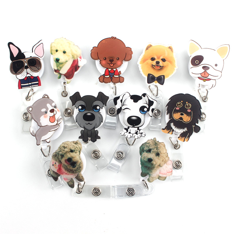 1Pcs Mini Cartoon Dog Retractable Badge Reel The New Student Nurse Exihibiton ID Name Card Badge Holder Office Supplies