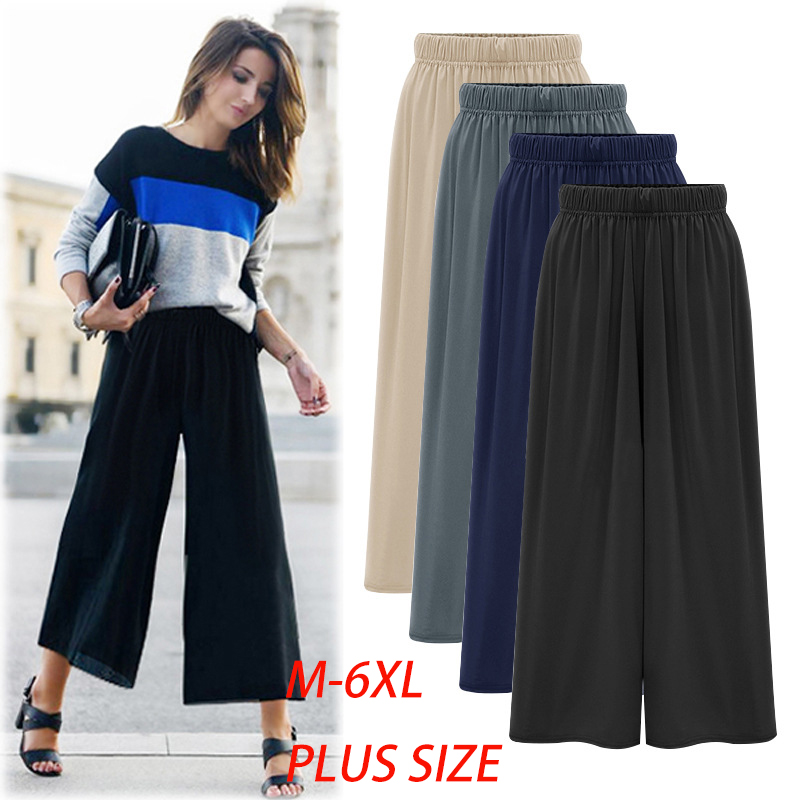 Summer Women   Wide     Leg     Pants   High Waist Loose Straight Nine   Pants   Womens Casual   Pants   Large Size Slacks for Female 6XL 9400