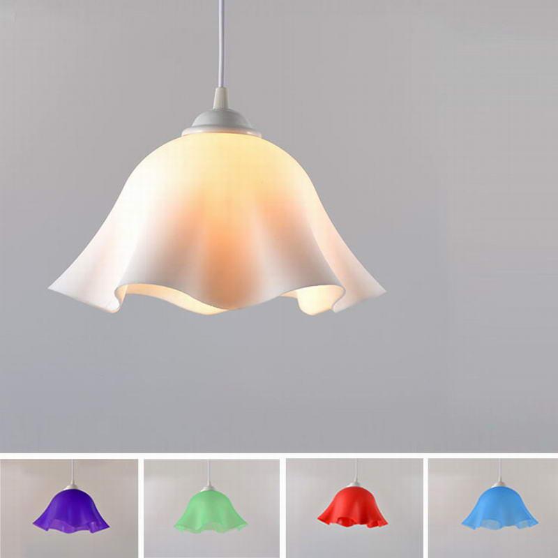 Modern Plastic Led Pendant Lights E27 Flower Shade Lamp Restaurant Bar Coffee Dining Living Room