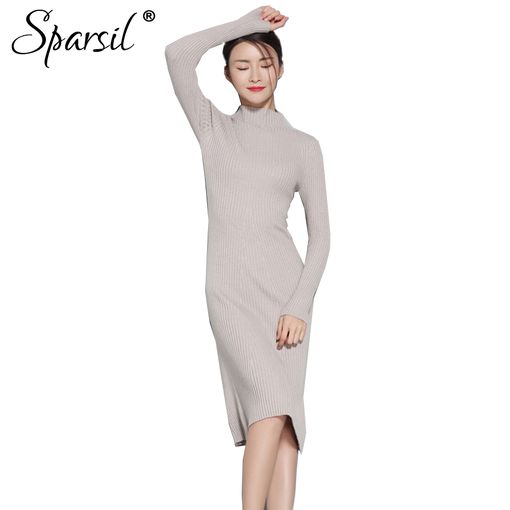 Sparsil Women Autumn Knitted Wool Dresses Half Turtleneck Long Sleeve Knee-Length Sweater Dress Solid A-Line Female Vestido