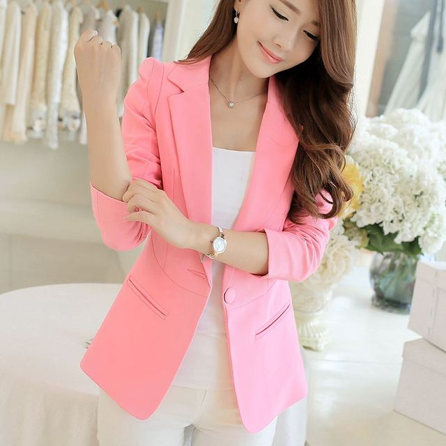 White Black Pink Women Blazers And Jackets Plus Size 2018 Spring Autumn Single Button Blaser Female Elegant Blazer Long Sleeve 2