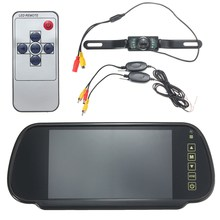 New Arrvial DC12-24V 7 Inch LCD Car Rear View Mirror Monitor Wireless Night Vision Backup Reverse Camera