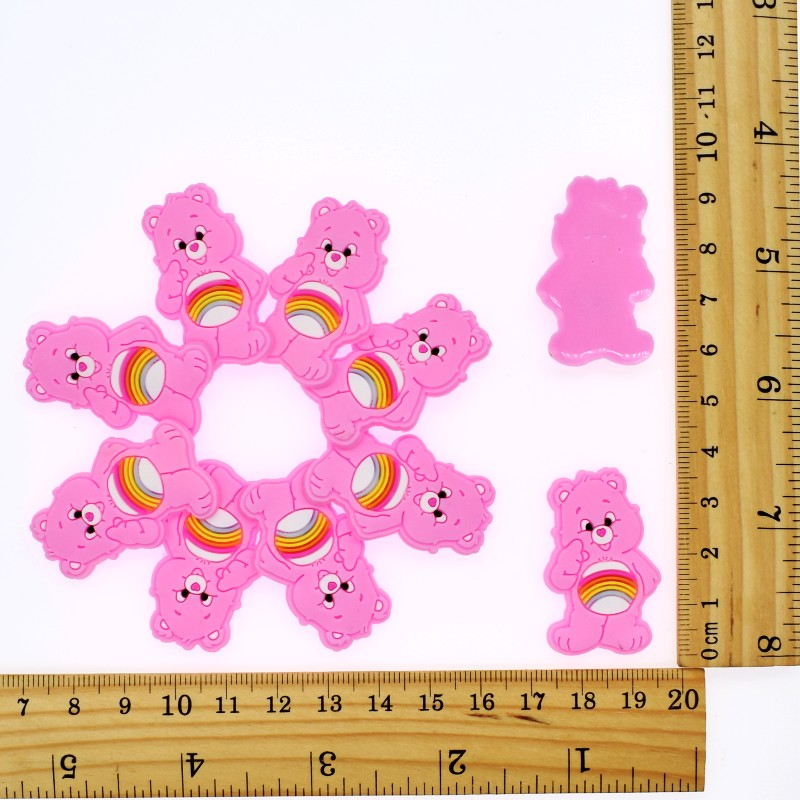 Flatback DIY 10pcs Soft PVC Charm Colorful Bear Ornament Fit Handmade Crafts Rings/Landyard/Cable Winder/Hair Bands/Hair Rope