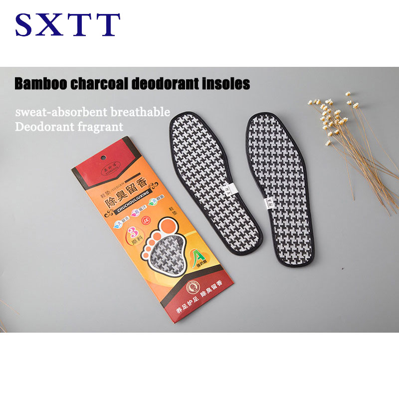 SXTT Charcoal Dry Deodorant Antibacterial Unisex Black  Insoles Bamboo Charcoal Deodorant Cushion Foot Inserts Shoe Pads