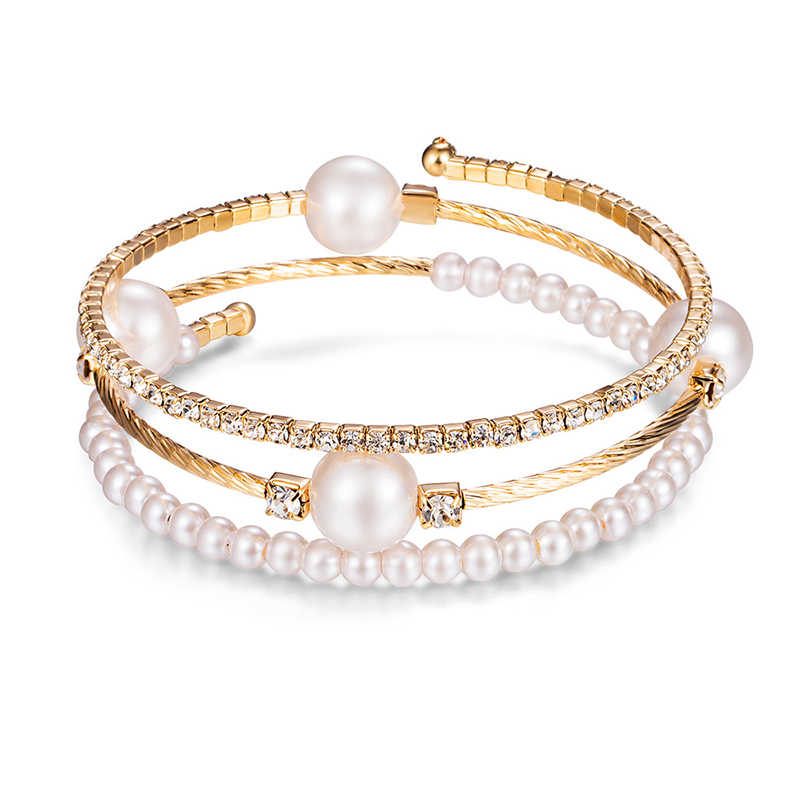 Crystal Pearl Bracelet Ladies Rhinestone Multi-layer Adjustable Bracelet Cuffs Wristband Gold Silver Bracelet Jewelry Gift