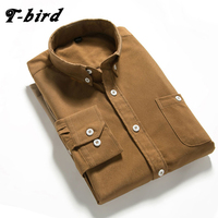 T Bird Shirts Men Long Sleeves Corduroy Dress Shirt Casual Men S Shirt 2107 Brand Fashion