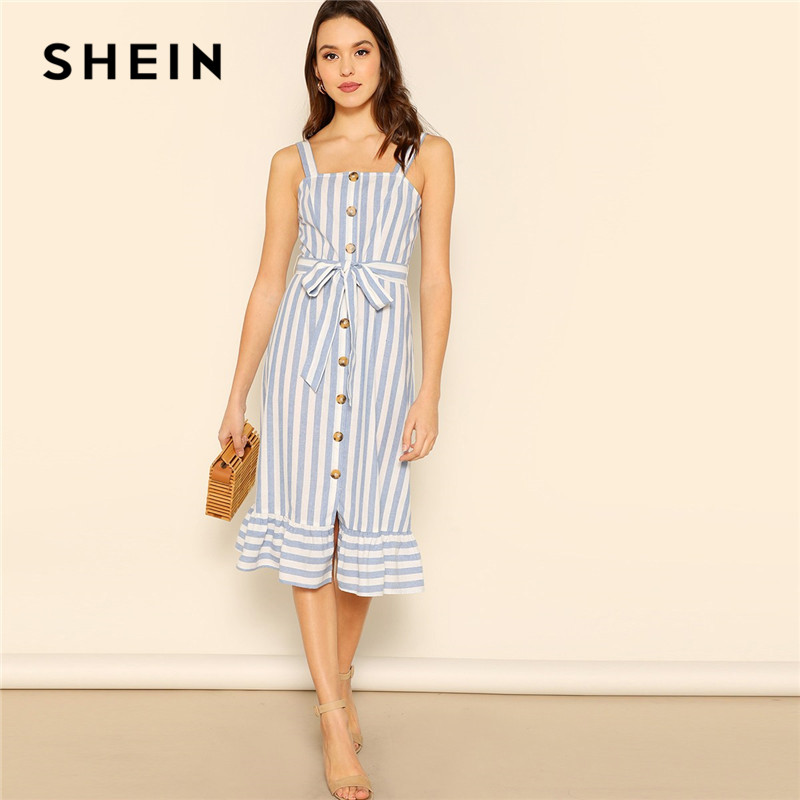 aa5586b4daa8 SHEIN Vacation Button Up Ruffle Hem Belted Striped Pinafore Dress Women  Summer Beach Spaghetti Strap Sleeveless
