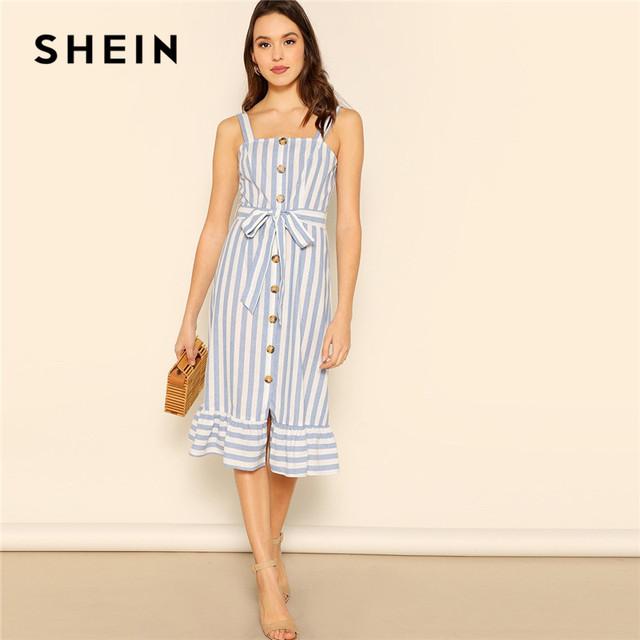 4954f4839a SHEIN Vacation Button Up Ruffle Hem Belted Striped Pinafore Dress Women  Summer Beach Spaghetti Strap Sleeveless Dresses