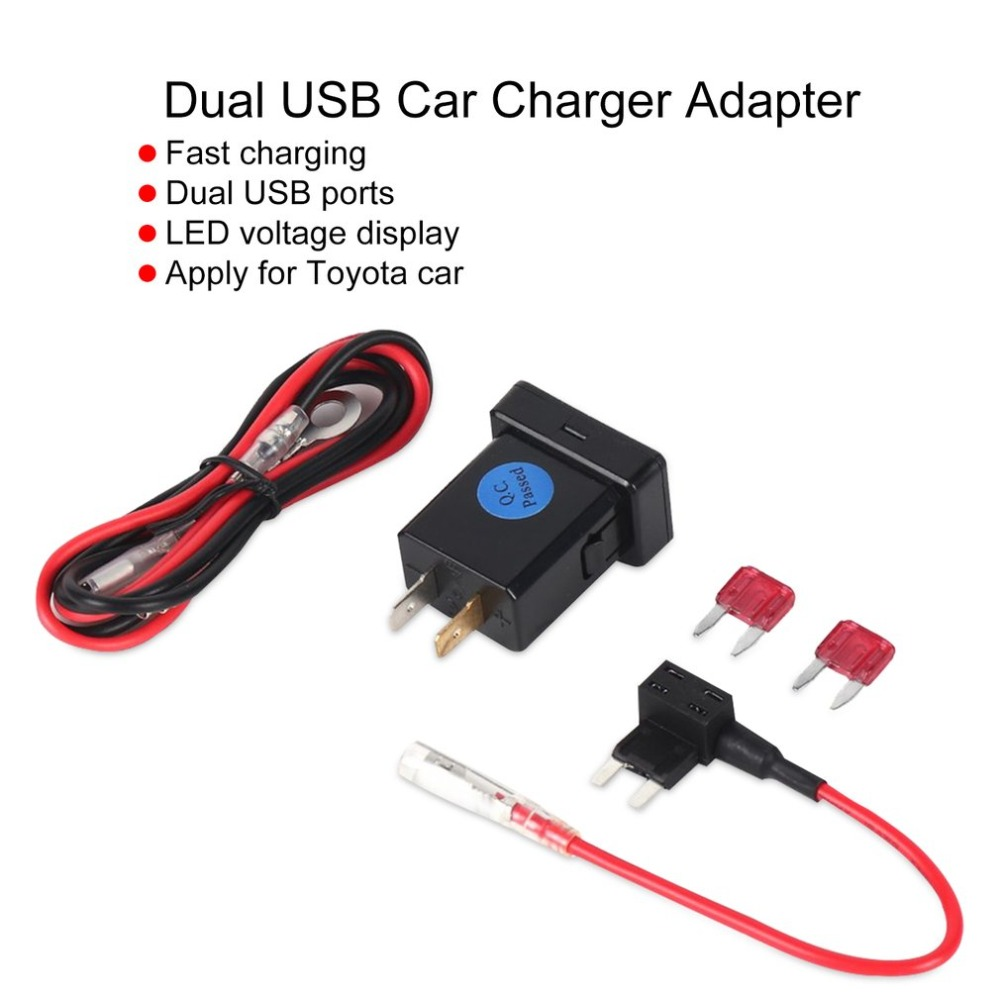 4.8A Car Charger Charge Socket Dual USB Port LED Volt Display for Phone Tablet Navigator Fast Charging Adapter for Toyota Car