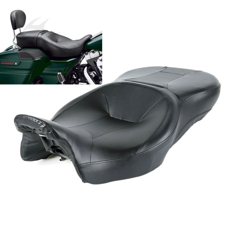 New black Rider and Passenger Seat For Harley Touring Electra Street Glide Road King Ultra Classic FLHT FLHR FLHX FLTRX 14-18 16 adjustable 1 2 inches lowering kit for harley touring road king electra street glide flhx flht 2002 2016