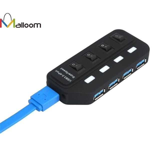 Malloom 2018 New Arrival USB Hub USB 3.0 Hub 4 Cổng Tốc Độ 5 Gbps Cho PC Máy Tính Xách Tay Với On/off chuyển đổi MÀU ĐEN với bộ chuyển đổi điện #20