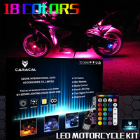 High Quality 18 Color 10x LED Strip Flexible RGB Flashing Light Strip Remote Wireless Motorcycle Neon