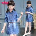 Girls' Cowboy Dress 2017 New Spring Long Sleeved Dress Slim Jeans Denim Pleated Fashion Dress With Belt Baby Toddler Summer Girl