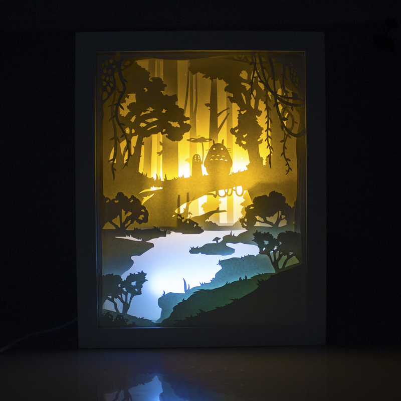 Totoro And No Face Male Light Shadow Paper Carved Lights