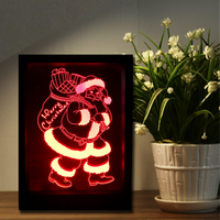 Novelty Best Christmas Santa Claus Decorative 3D Frame Wall Lamp Visual Creative 7 Color Change Table