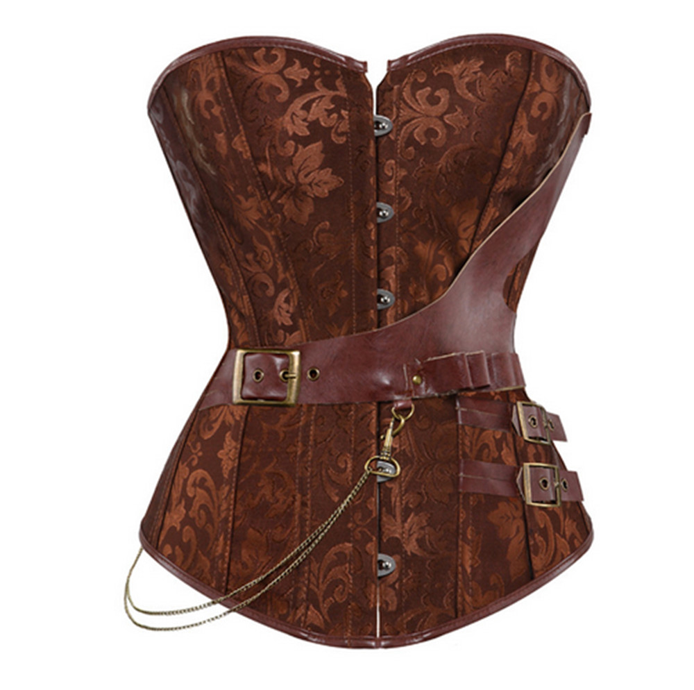 Women's Sexy Brown Jacquard Gothic   Corset   Steampunk Faux Leather Chains   Bustier   Waist Sliming Plus Size S-6XL