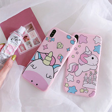 Candy pink cartoon unicorn phone case silicone matte cover for iphone 7 7Plus cute cases xs max xr 8 6 6s plus coque