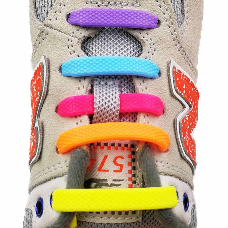 ไม่มี Tie Shoelaces 16 ชิ้น/ล็อตซิลิโคน Laces รองเท้ายืดหยุ่นอุปกรณ์เสริมลูกไม้ยืดหยุ่นเชือกผูกรองเท้า Creative Lazy Laces ซิลิโคนยาง