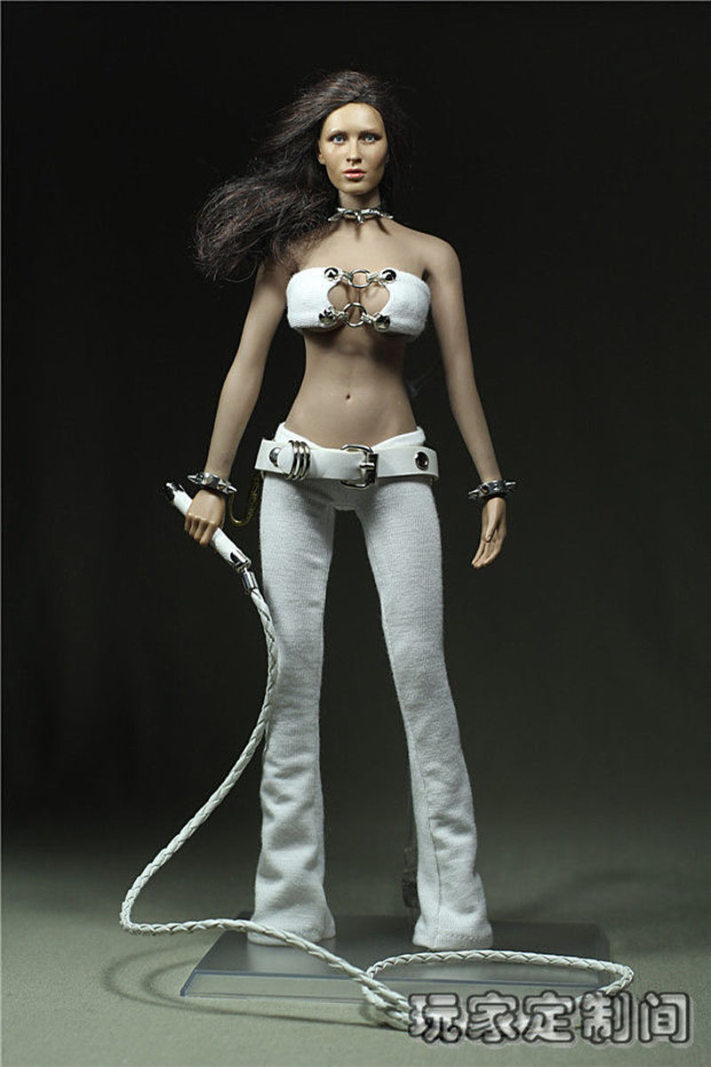 White 1/6 Scale Female Executive Torturer Clothing Model Toys For 12 Female Action Figures Body Accessory   Collections 1 6 purple female sexy leather skirt dress suit clothing model toys for 12 female action figures body accessory