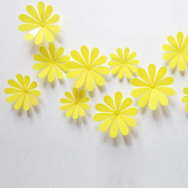 3D three dimensional small flower stickers living room TV backdrop ...