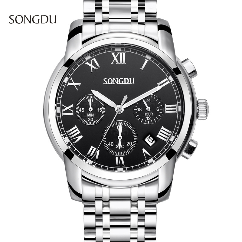 reloj hombre SONGDU fashion waterproof men watch three calendar simple waterproof steel strap male watches relogio