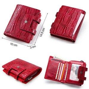 Image 4 - Contacts couro genuíno mulheres carteiras senhora bolsa longo carteira de jacaré elegante moda feminina embreagem com titular do cartão