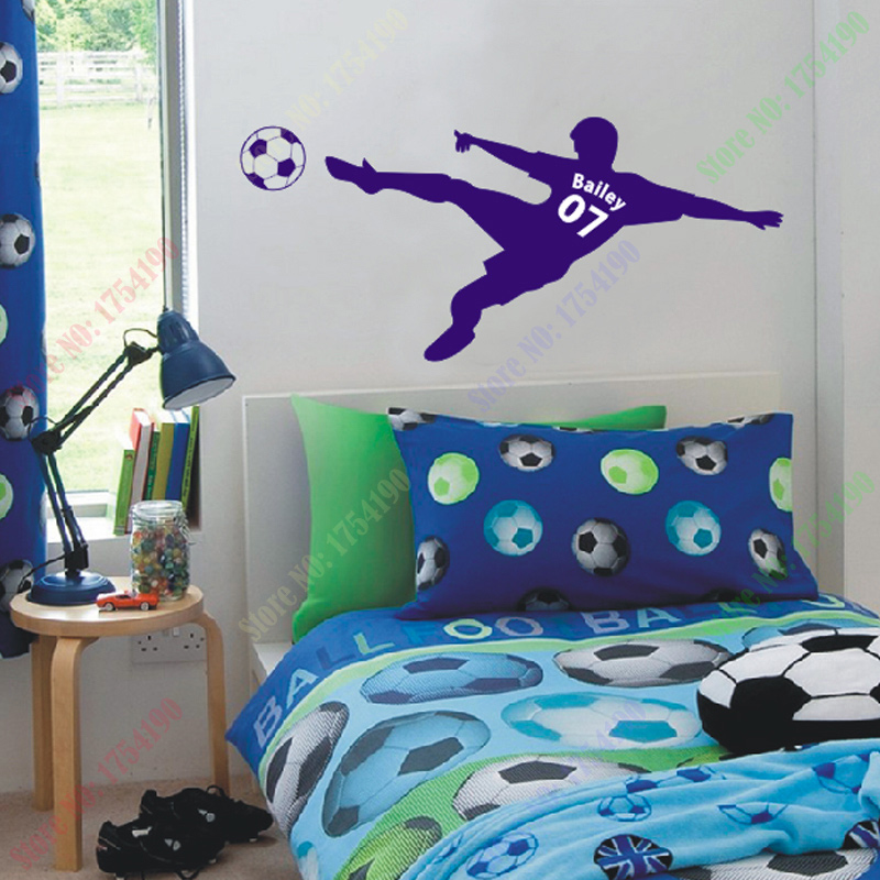 Football Soccer Ball Personalized Name Number Vinyl Wall Decal Poster Art Children Sticker Kids Room Decor In Stickers From Home