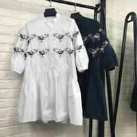 New 2018 Spring Summer Fashion Women Heavy Embroidery Cotton Long Shirts Pearls Beading Half Sleeve Loose