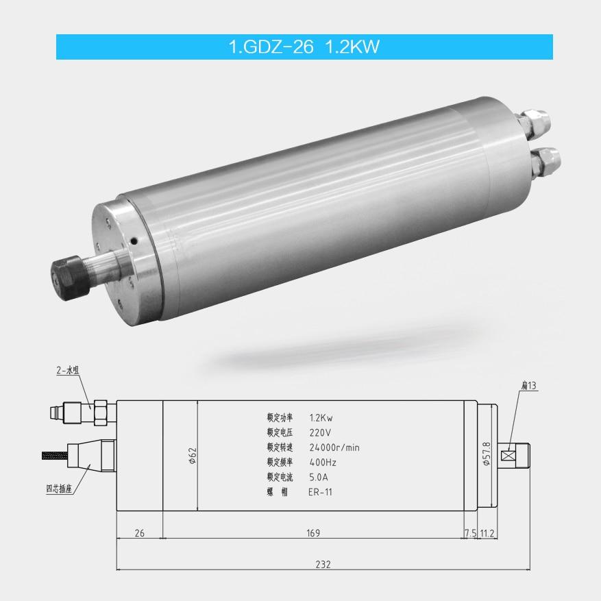 62mm diamètre 800 w/1.2kw refroidi à l'eau broche moteur Jade sculpture machine broche machine
