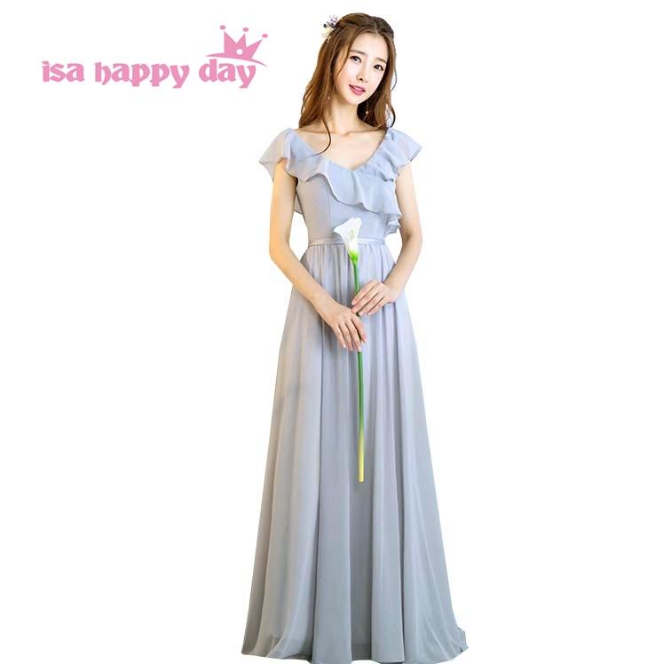 c5ffcc93b3 Szary panie obiad v neck szyfonu kobiety panie eleganckie formalne suknie  linia sukienka sukienka wieczorowa długie eleganckie sukienki suknia H4167