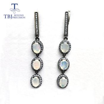TBJ, new long  ethiopian opal clasp earring 925 sterling silver fine jewelry for women nice gift