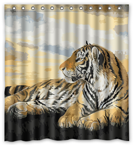 Bathroom Polyester Fabric Oil Painting Forest Overlord Tiger Printed Shower Curtains Waterproof Washable Bath 180x180cm