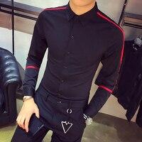 Korean Men Shirt Quality Spring New Mens Casual Long Sleeve Shirts Slim Fit Fashion Ribbon Design Night Club Work Shirt Tuxedo