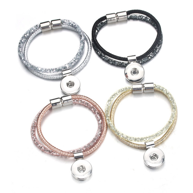 New fashion Snap Jewelry 18mm Shining Snap Buttons Bracelet Wholesale Vintage Magnetic Snap Bracelets Women Jewelry